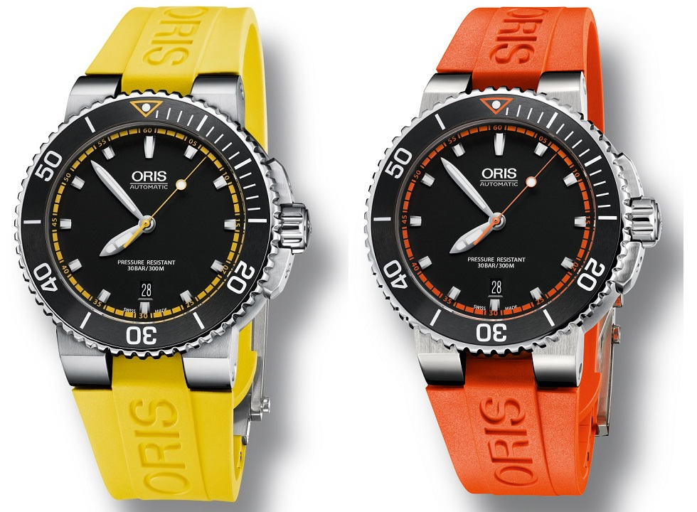 Oris Aquis Date in high visibility yellow and orange