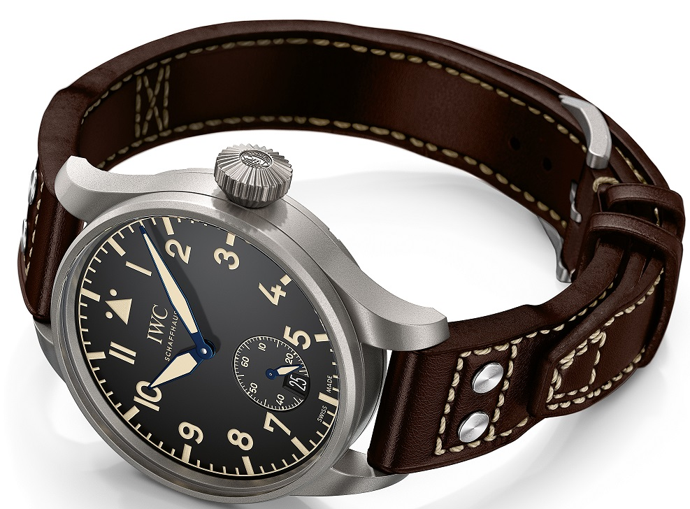 HANDOUT – The Big Pilot's Heritage Watch 48 (Ref. IW510301) from IWC Schaffhausen features a case in titanium, black dial and brown calfskin strap with a titanium pin buckle. It features a window with sapphire glass for power reserve display and is limited to 1000 pieces. (PHOTOPRESS/IWC)