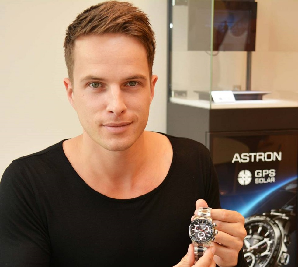 Superstar DJ DANNIC presented with a SEIKO Astron GPS Solar Dual Time