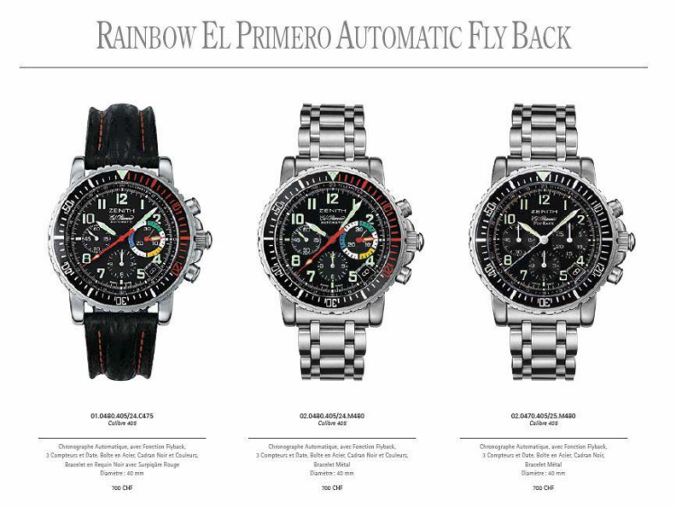 ZENITH RAINBOW EL PRIMERO OVERVIEW: all the different