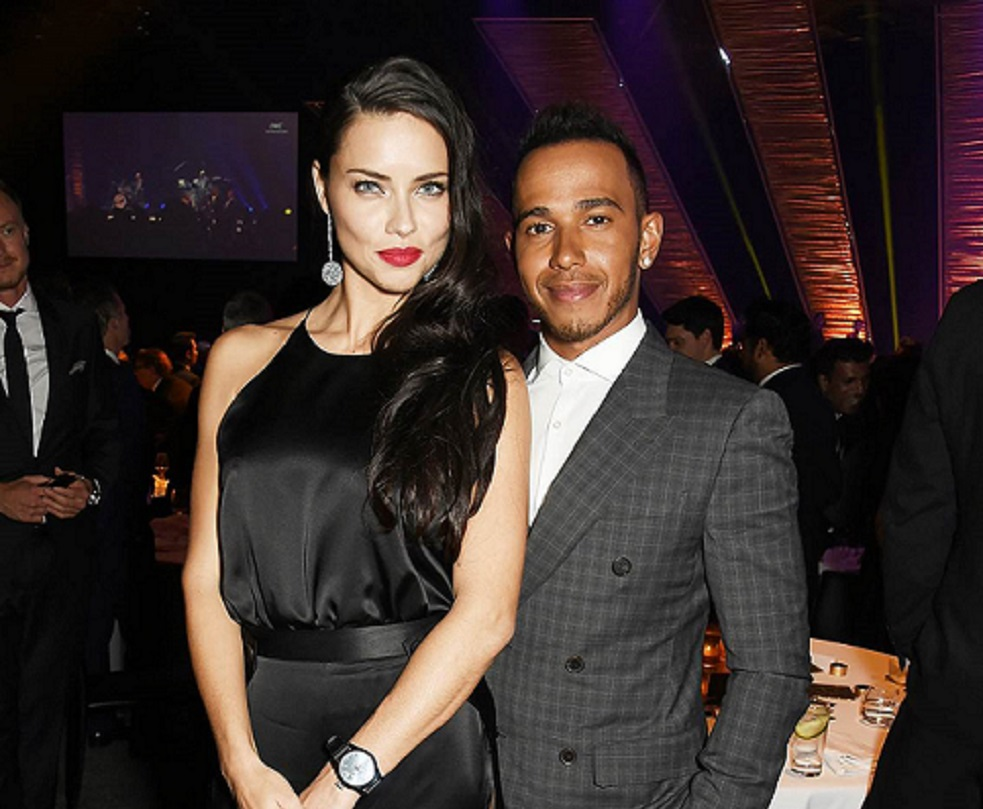 """GENEVA, SWITZERLAND - JANUARY 19:  Adriana Lima (L) and Lewis Hamilton attend the IWC """"Come Fly with us"""" Gala Dinner during the launch of the Pilot's Watches Novelties from the Swiss luxury watch manufacturer IWC Schaffhausen at the Salon International de la Haute Horlogerie (SIHH) 2016 on January 19, 2016 in Geneva, Switzerland.  (Photo by David M. Benett/Dave Benett/Getty Images) *** Local Caption *** Adriana Lima; Lewis Hamilton"""