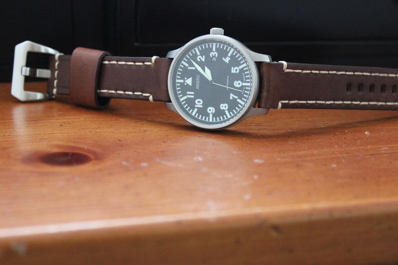 Name:  Aristo Pilot 3H114 on brown Panatime strap with white stitch1.jpg Views: 103 Size:  88.4 KB