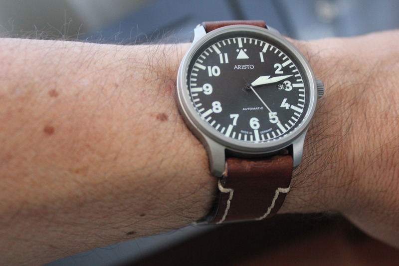 Name:  Aristo Pilot 3H114 on brown Panatime strap with white stitch9.jpg