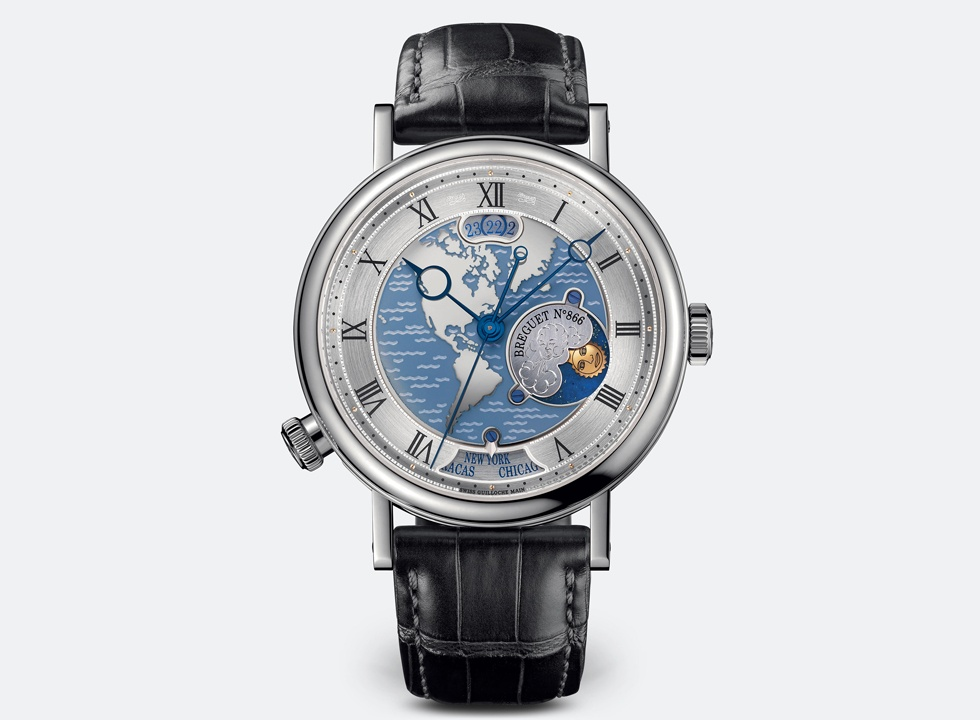 The Breguet Classique Hora Mundi ref. 5717takes the display of a second-time zone to an elevated level.