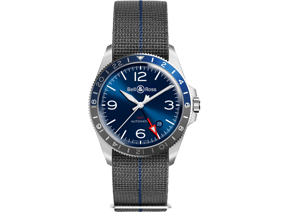 This Bell & Ross BR V2-93 GMT Blueis a lovingly done take on the classic aviation watch, with a faded grey and blue 245-hour bezel, a bold red second hand and a starburst blue dial that's pure B&R.
