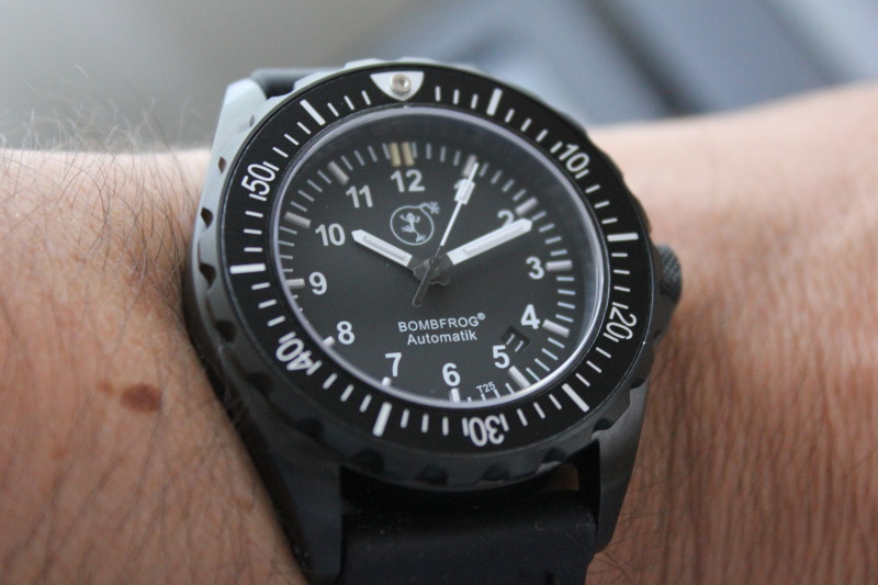Name:  Bombfrog BT25 Tactical diver on black rubber Panatime strap14.jpg