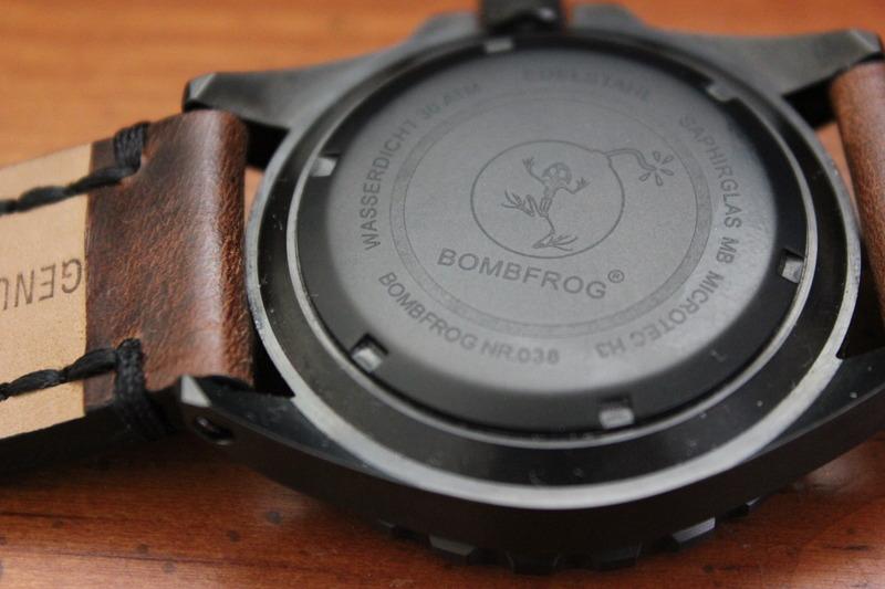 Name:  Bombfrog BT25 Tactical diver on Panatime Dark Brown Vintage Tobacco Genuine Distressed Leather .jpeg Views: 41 Size:  99.5 KB