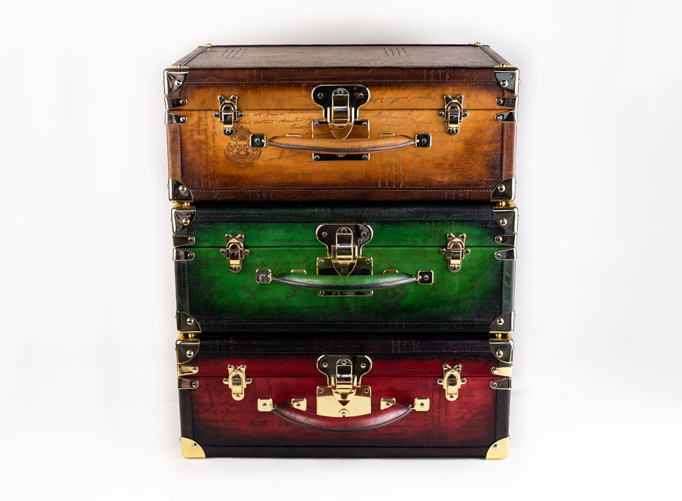 Bosphorus Leather watch trunks are crafted to store up to thirty watches on multiple trays.
