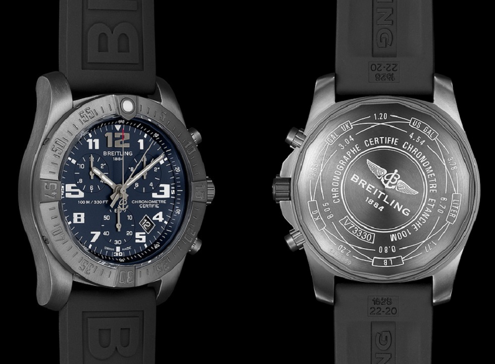 Breitling Chronospace Evo Night Mission side and case back