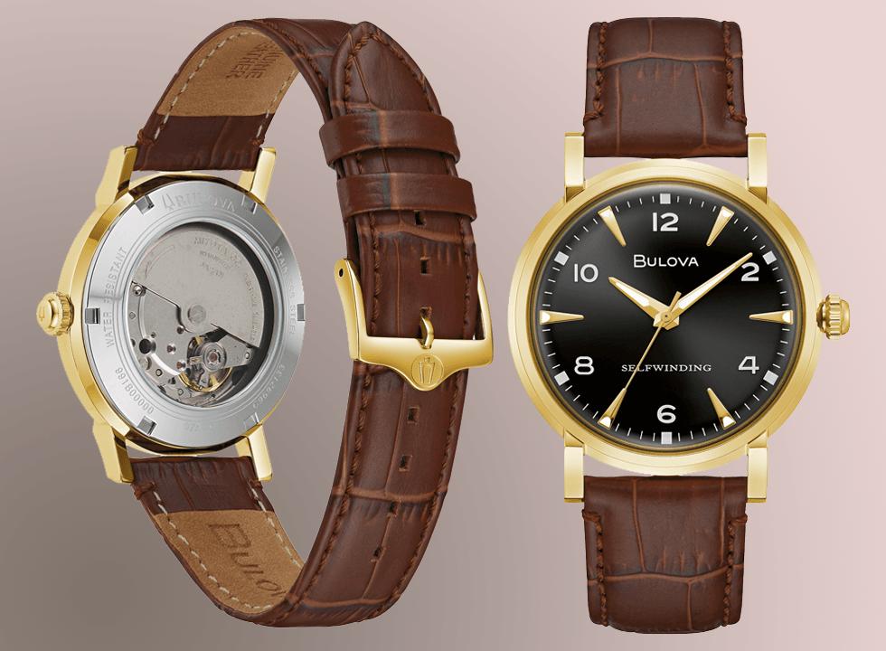 bulova american clipper automatic gold watch