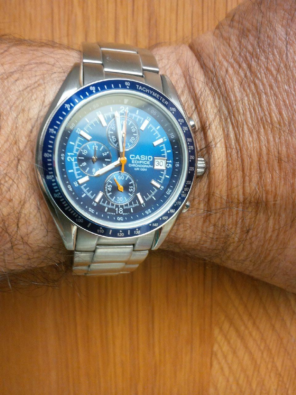 Name:  Casio EF 503 Blue on wrist.jpg Views: 118 Size:  265.7 KB