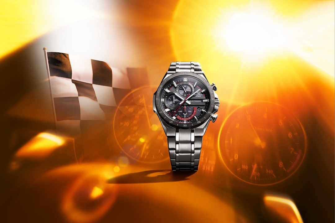 The Casio EQS920DB is designed for comfort and durability with a flat profile bezel and Casio's solar power technology.