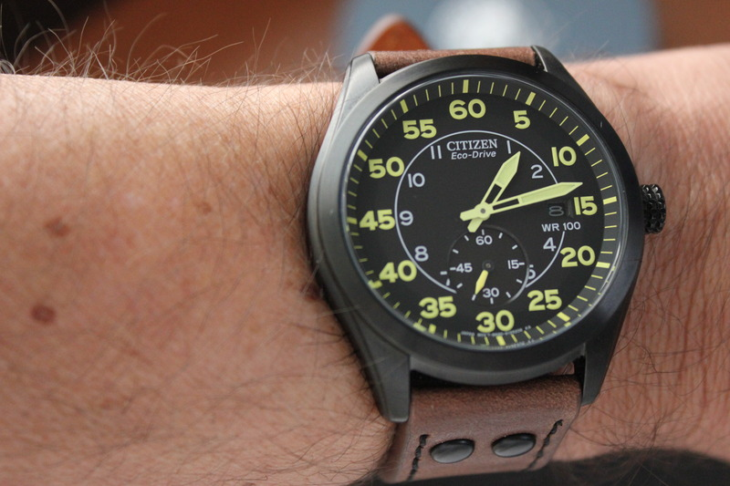 Name:  Citizen Stealth BV1085-14E on Panatime MB-1 Bomber Vintage Distressed Brown strap with Black sti.jpg
