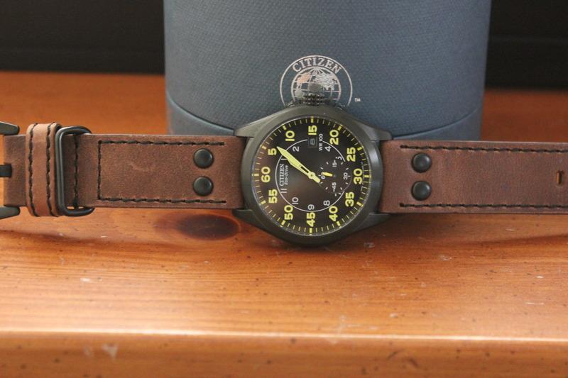 Name:  Citizen Stealth BV1085-14E on Panatime MB-1 Bomber Vintage Distressed Brown strap with Black sti.jpg Views: 79 Size:  110.3 KB