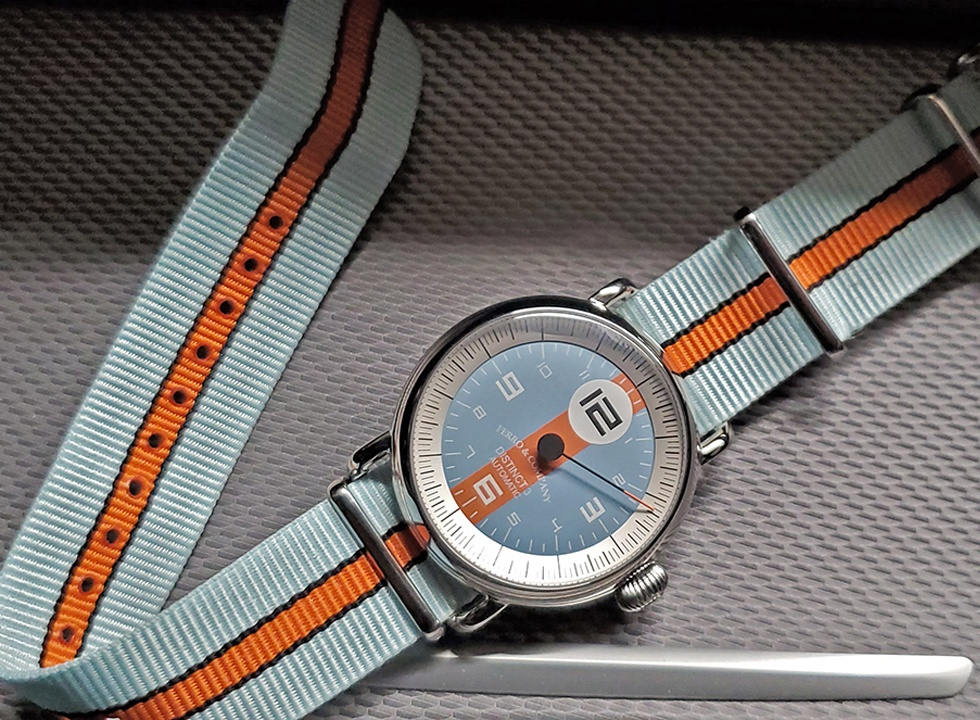 This vintage racing style watch from Ferro & Co is sure to appeal to watch and racing fans alike.