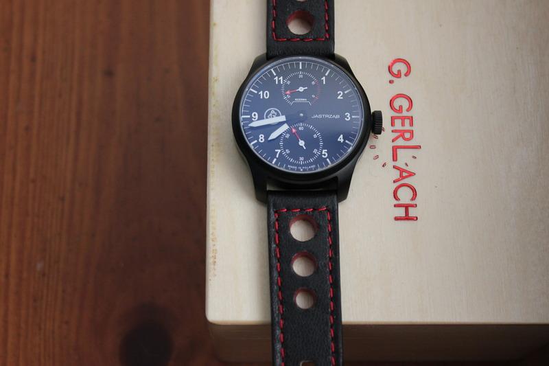 Name:  G Gerlach P.50 Jastrzab:Hawk on black red stitch rally strap from Panatime1.jpg Views: 38 Size:  84.0 KB