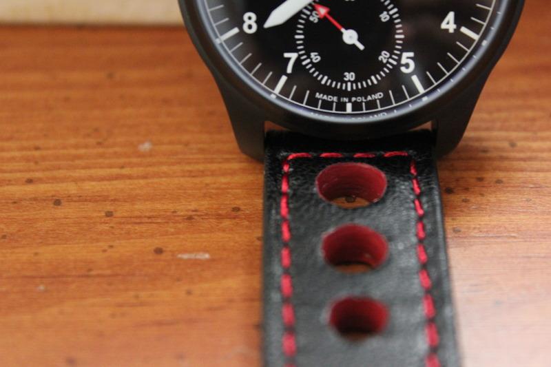 Name:  G Gerlach P.50 Jastrzab:Hawk on black red stitch rally strap from Panatime5.jpg Views: 36 Size:  98.8 KB