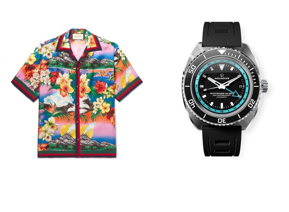 c6487b702 Gucci Camp-Collar Grosgrain-Trimmed Floral-Print Silk Satin-Twill Shirt and  Bathys Aquadive