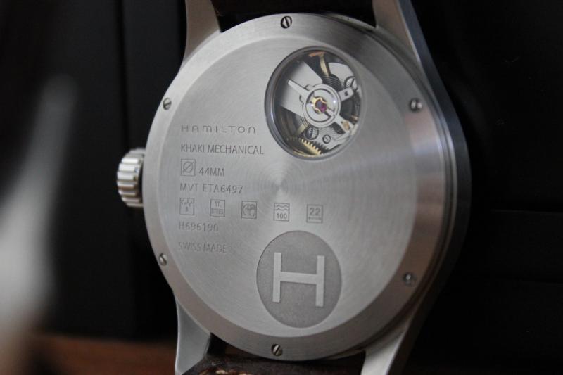Name:  Hamilton Khaki Mechanical H696190 Dark Brown white stitch Panatime strap4.jpg Views: 31 Size:  28.4 KB
