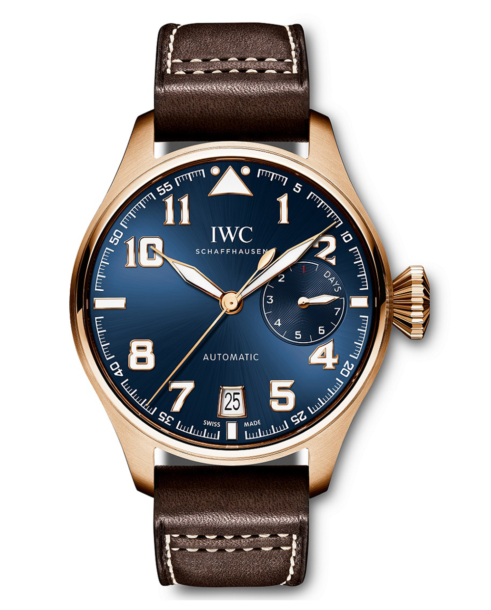 HANDOUT - First introduced in 2014 with a stainless steel case, the Big Pilot's Watch Edition ''Le Petit Prince'' (Ref. IW500909) from IWC Schaffhausen is now also available in a 18-carat red gold case. Limited to 250 watches, the timepiece has a 7-day power reserve and elegant sun-pattern finish. The back engraving shows the little prince in his neverending battle with the baobab tree seedlings, which, if allowed to take root, would split his tiny planet in pieces. With the Big PilotÕs Watch Edition ''Le Petit Prince'', IWC Schaffhausen pays tribute to one of the best-selling books in literary history, written by legendary writer, pilot and adventurer Antoine de Saint-ExupŽry. Since 2006, the Swiss luxury watch manufacturer has maintained a cordial partnership with Saint-ExupŽryÕs heirs and their charitable organization, the Antoine de Saint-ExupŽry Youth Foundation. (PHOTOPRESS/IWC)