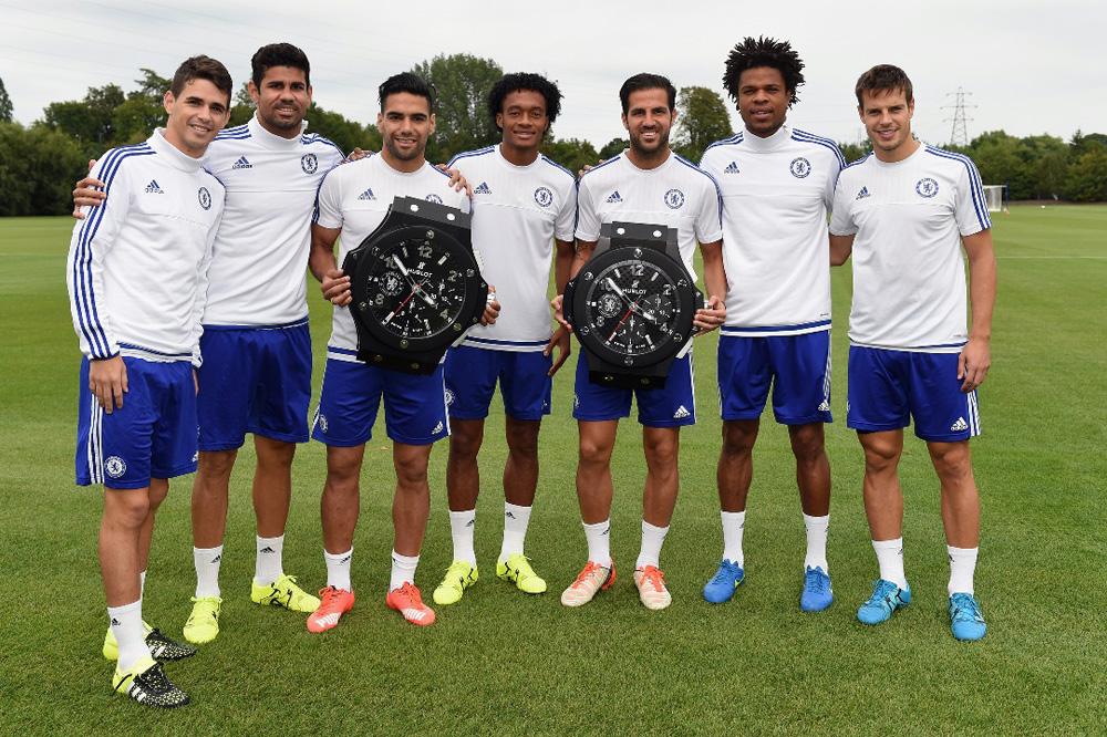 Chelsea's Oscar, Diego Costa, Radamel Falcao, Juan Cuadrado, Cesc Fabregas, Loic Remy, Cesar Azpilicueta with Hublot Clocks at the Cobham Training Ground on 12th August 2015 in Cobham, England.