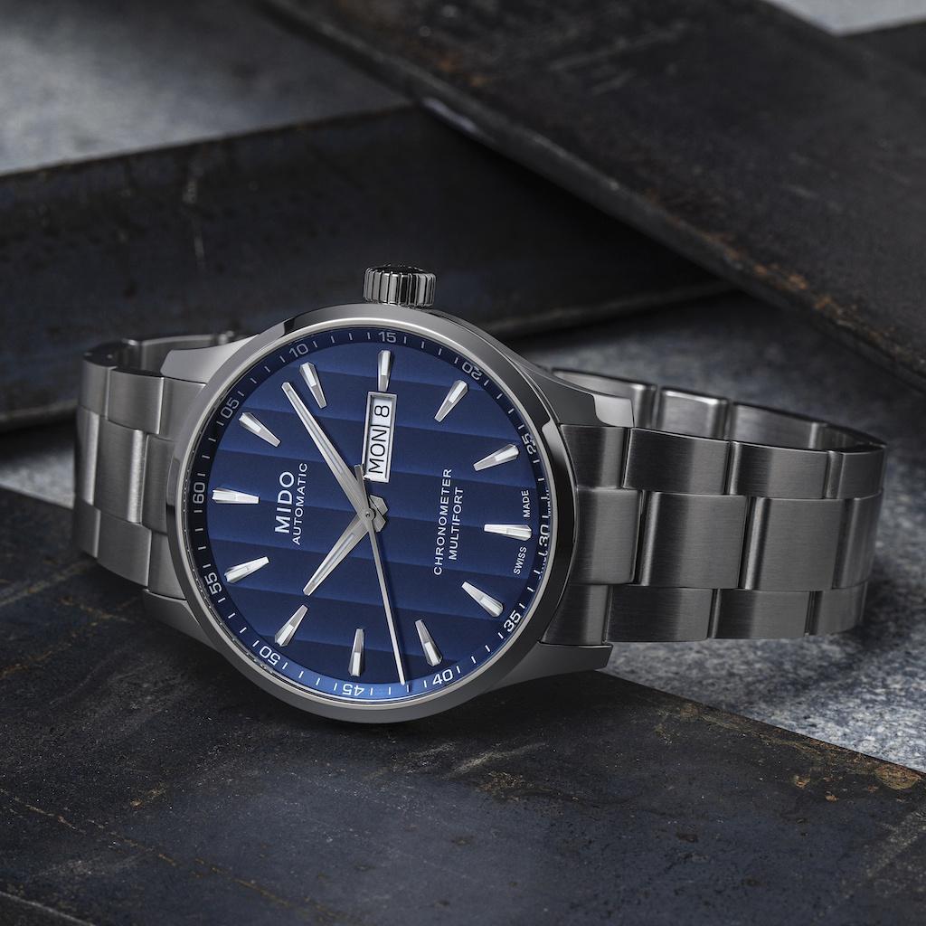 Mido Multifort Chronometer 1 Blue Dial side