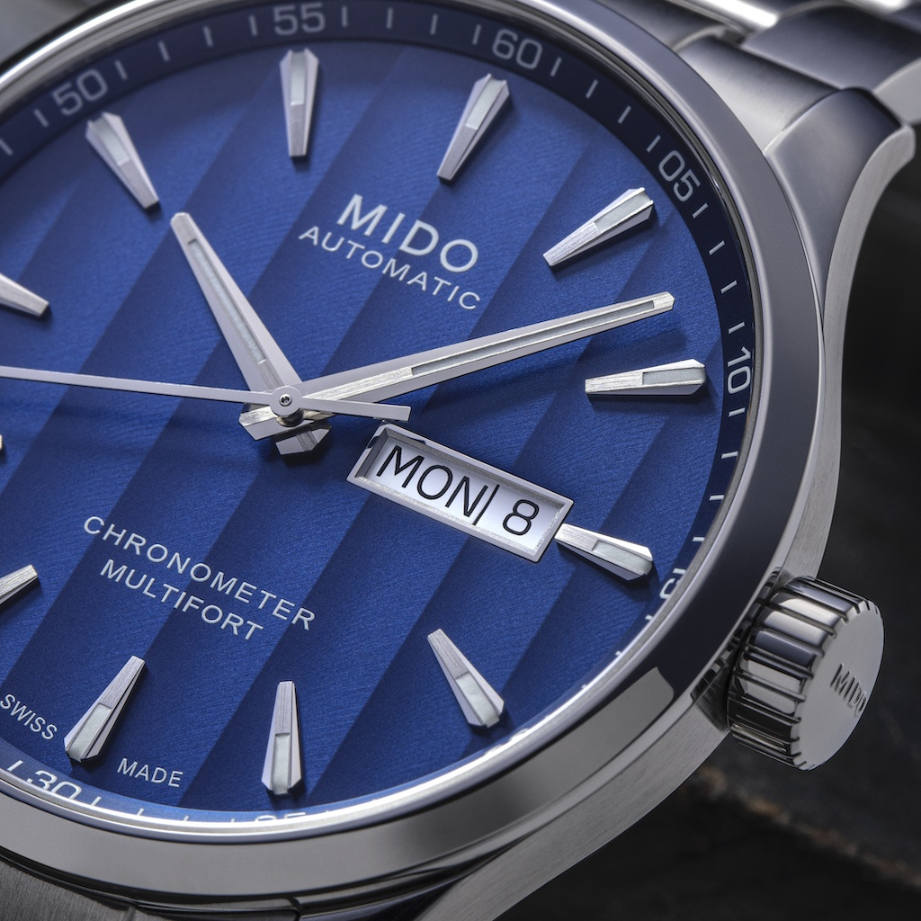 Mido Multifort Chronometer 1 Blue Dial Close Up