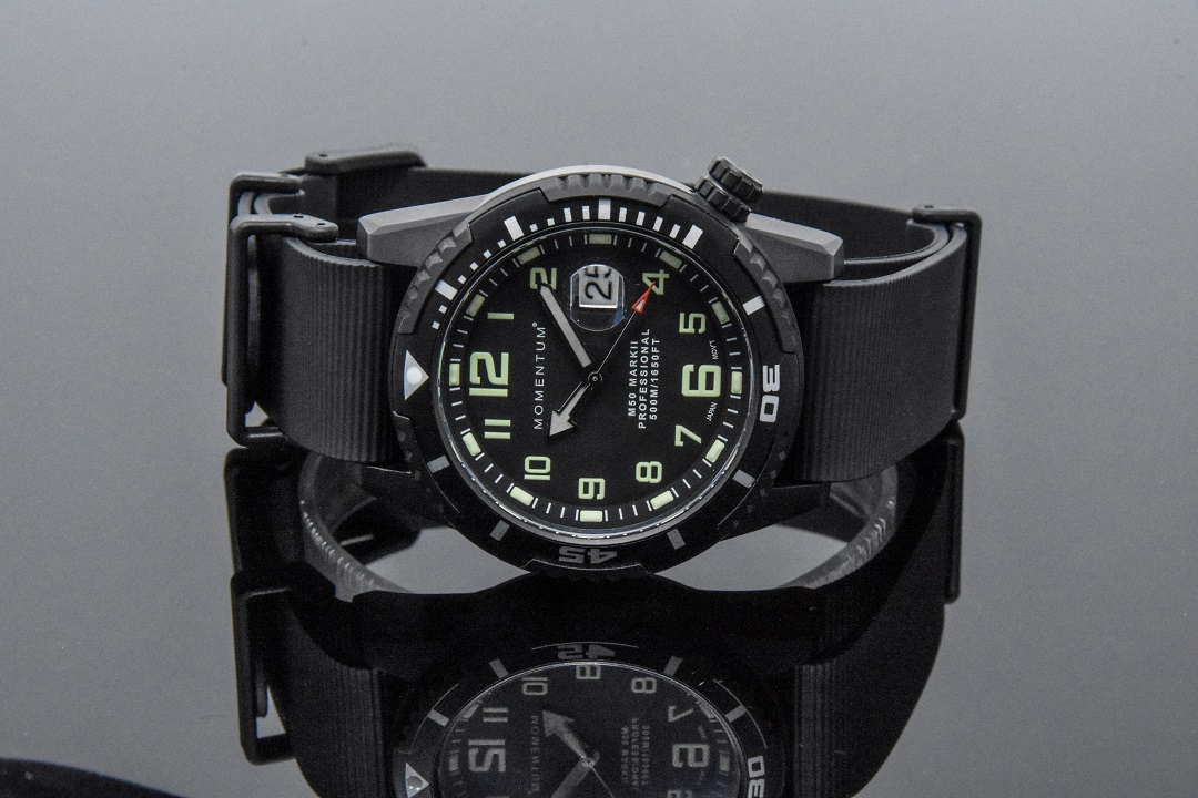 Momentum M50 Black Ion on Rubber Nato Band