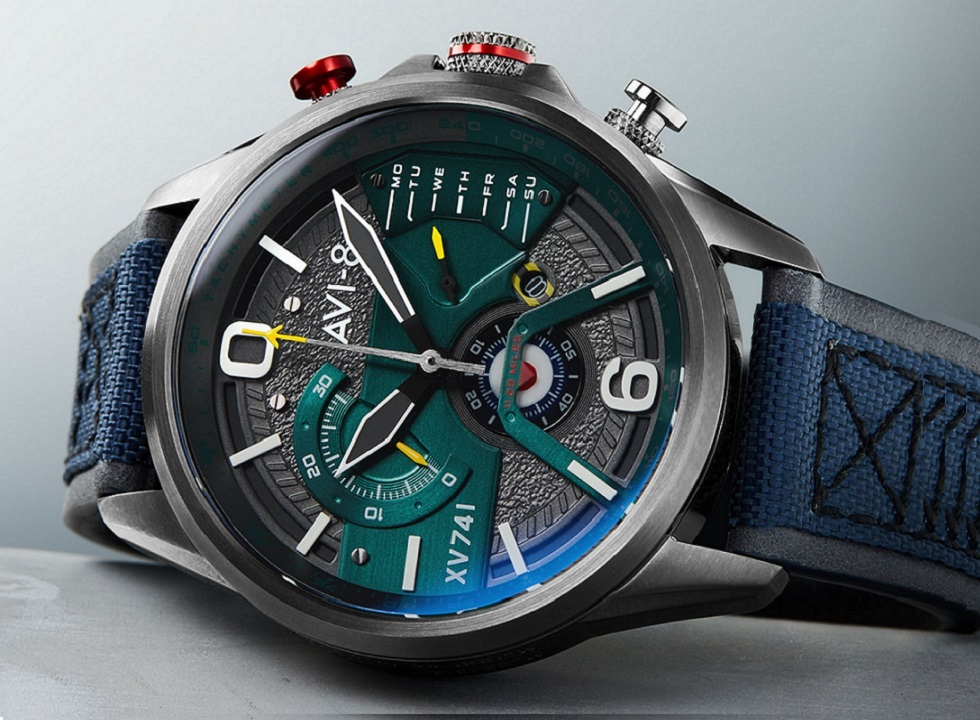Available for Pre-Order: AVI-8 Hawker Harrier Retrograde Chronograph Blue Nylon Limited Edition