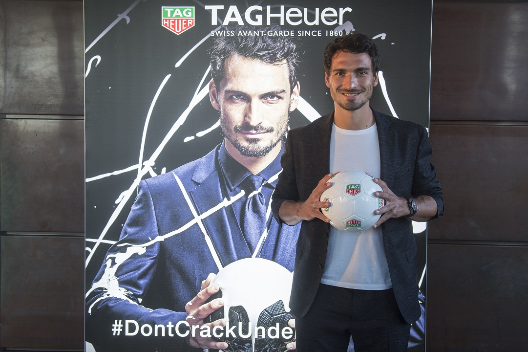 MUNICH, GERMANY - AUGUST 23:  Mats Hummels, new brand ambassador for TAG Heuer, poses at Hotel Bayerischer Hof on August 23, 2016 in Munich, Germany.  (Photo by Lennart Preiss/Getty Images for TAG Heuer )