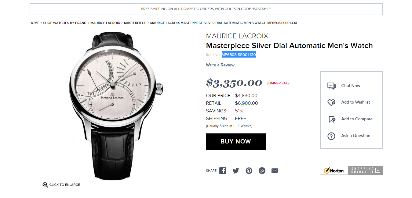 Name:  Maurice Lacroix Masterpiece Silver Dial Automatic Men s Watch MP6508 SS001 130   Masterpiece   M.png Views: 1310 Size:  256.3 KB
