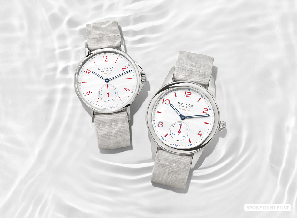 Saxony watchmaker Nomos Glashütte has just introduced two new watches; Ahoi neomatik siren white and Club neomatik siren white to their popular Aqua collection.