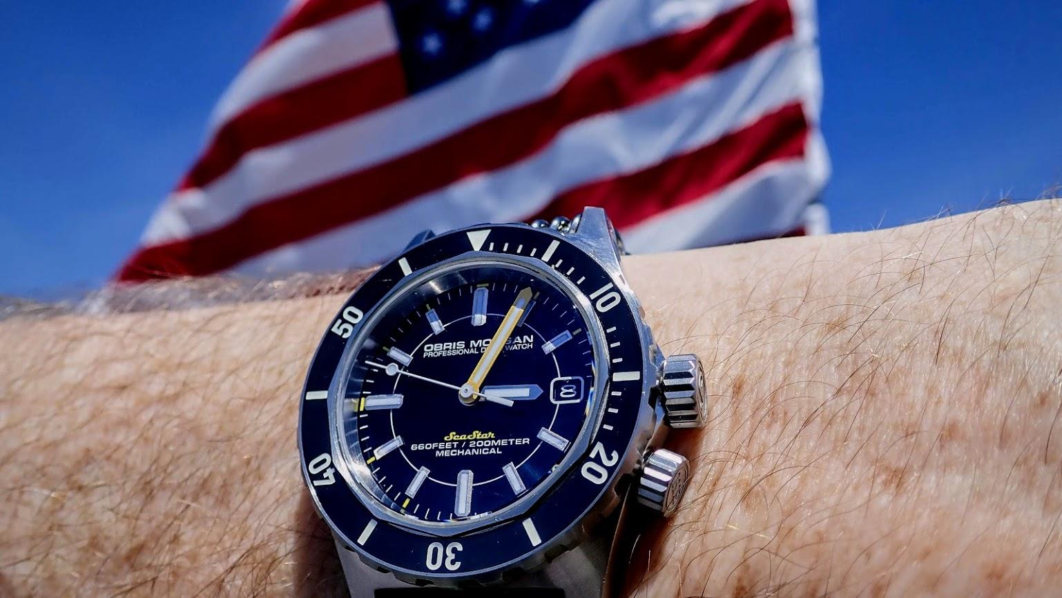 Name:  Obris Morgan SeaStar front wrist with american flag shot 1.JPG Views: 42 Size:  235.5 KB