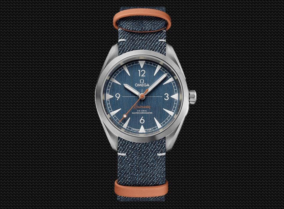 Omega Railmaster Co-Axial Master Chronometer on Denim