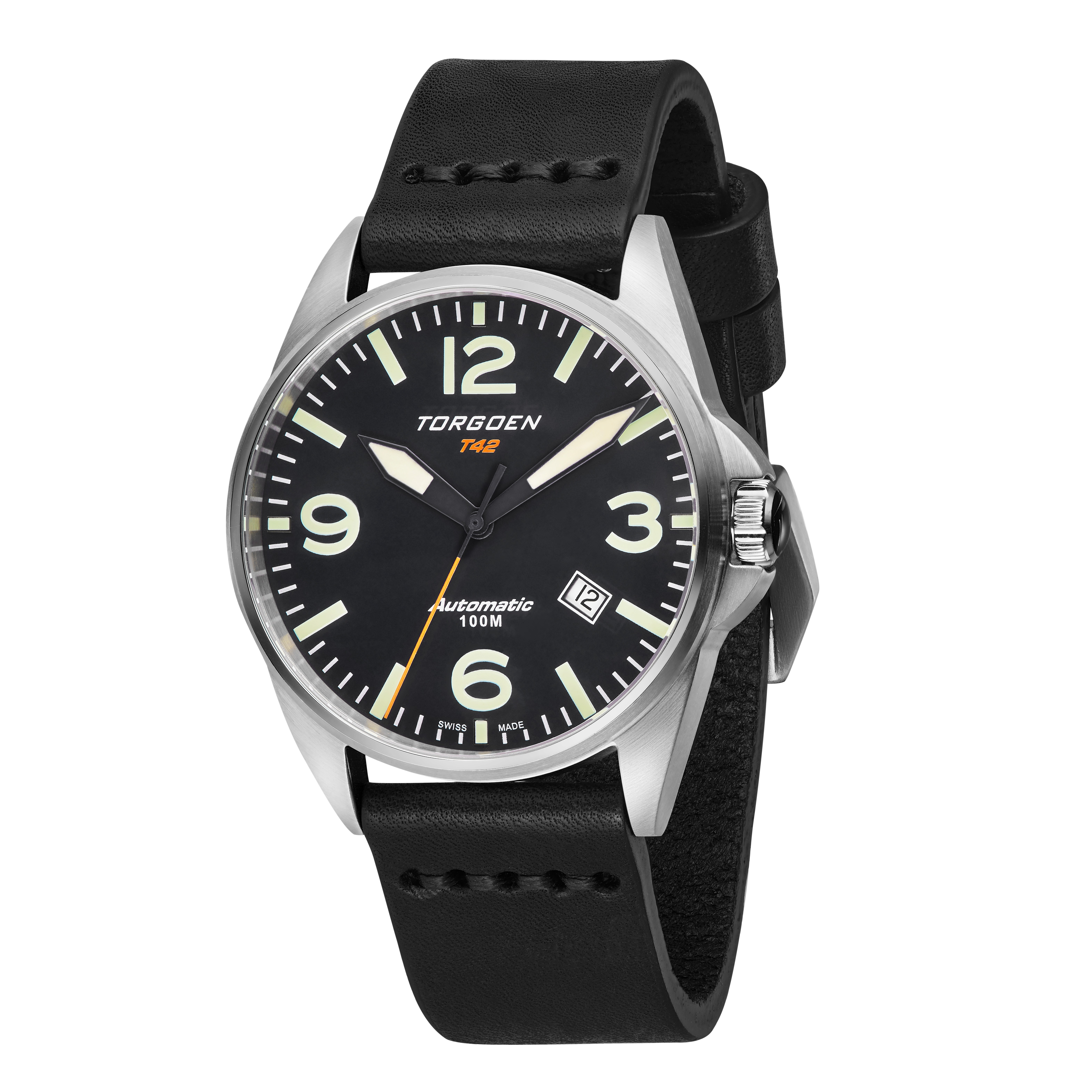 The limited-edition Torgoen Watches T42 release boasts a sapphire crystal with an anti-reflective coating and a genuine Italian leather strap with tone-on-tone stitching.