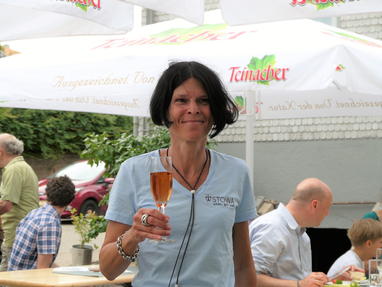 Regine Schauer tasting Merkle sparkling wine