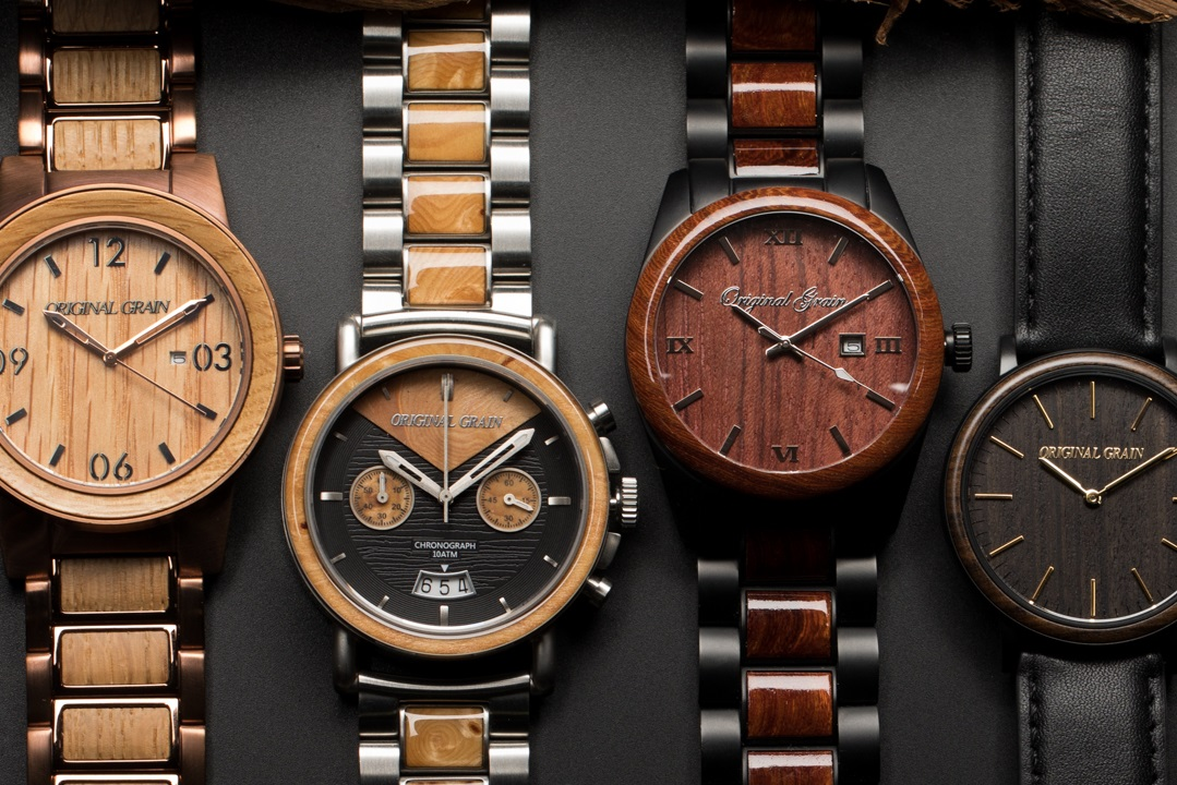 dp zebra natural wood handmade genuine amazon watch leather with watches mens brown band grain com wooden