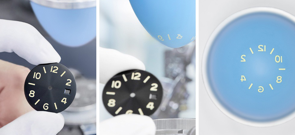 For the smaller Glashütte Original SeaQ models, the numerals and index lines are first applied to the dial in a light primer color, using a method called pad printing.