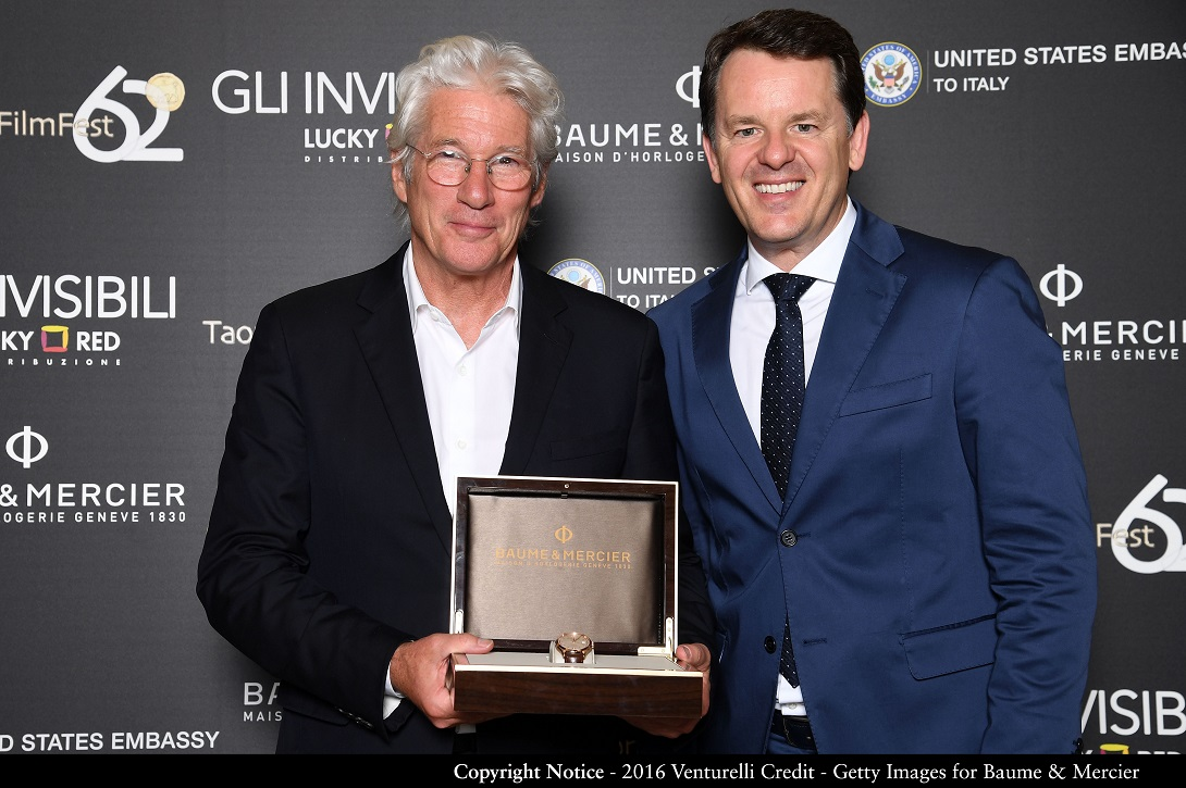 ROME, ITALY - JUNE 08:  Actor  Richard Gere and CEO of Baume & Mercier Alain Zimmermann attend the dinner hosted by Baume & Mercier to celebrate Richard Gere 'Time Out Of mind' on June 8, 2016 in Rome, Italy.  (Photo by Venturelli/Getty Images for Baume & Mercier)