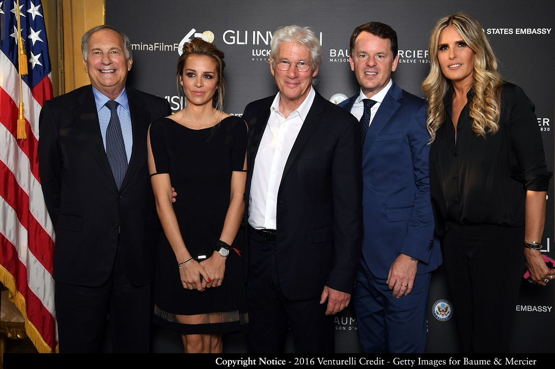 ROME, ITALY - JUNE 08:  U.S. ambassador to Italy John R. Phillips, Alejandra Silva, actor  Richard Gere, CEO of Baume & Mercier Alain Zimmermann and Tiziana Rocca attend the dinner hosted by Baume & Mercier to celebrate Richard Gere 'Time Out Of mind' on June 8, 2016 in Rome, Italy.  (Photo by Venturelli/Getty Images for Baume & Mercier)