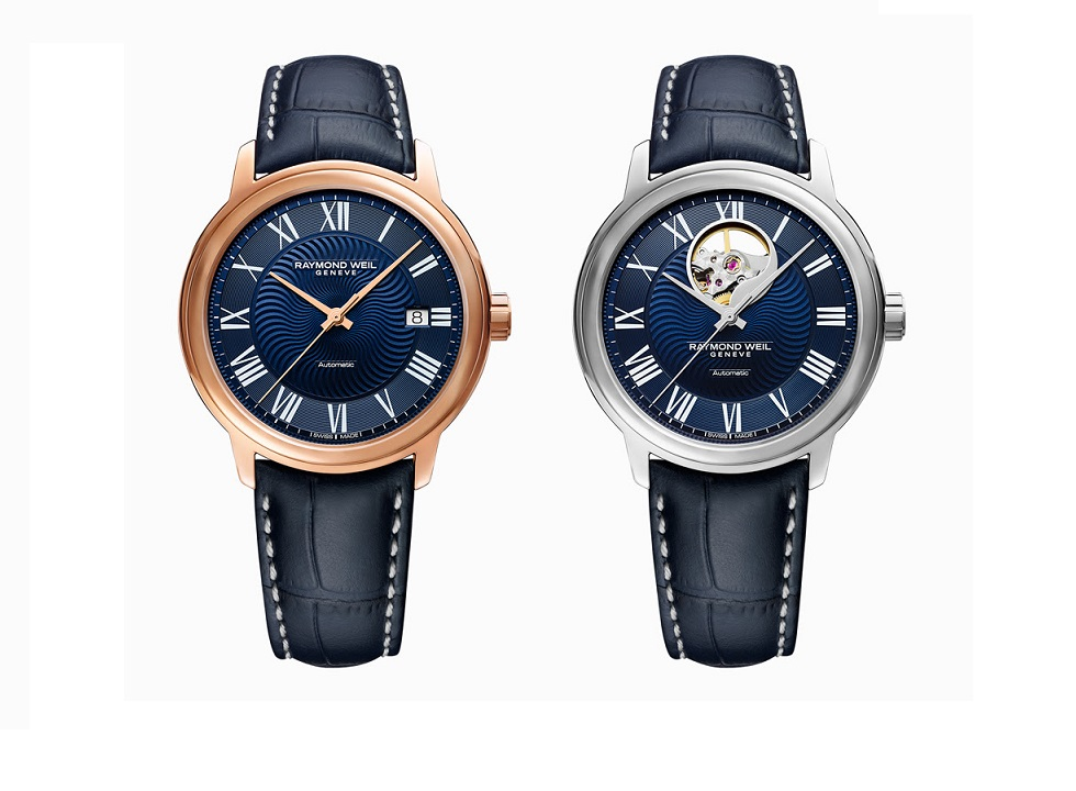 11a6aefcb The contemporary hands are a match for the dial's white Roman numerals. The  maestro Blues with the rose gold PVD plated case features a date aperture  at 3 ...