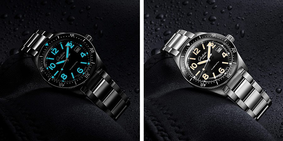 The Glashütte Original SeaQ, pictured in both day and night.