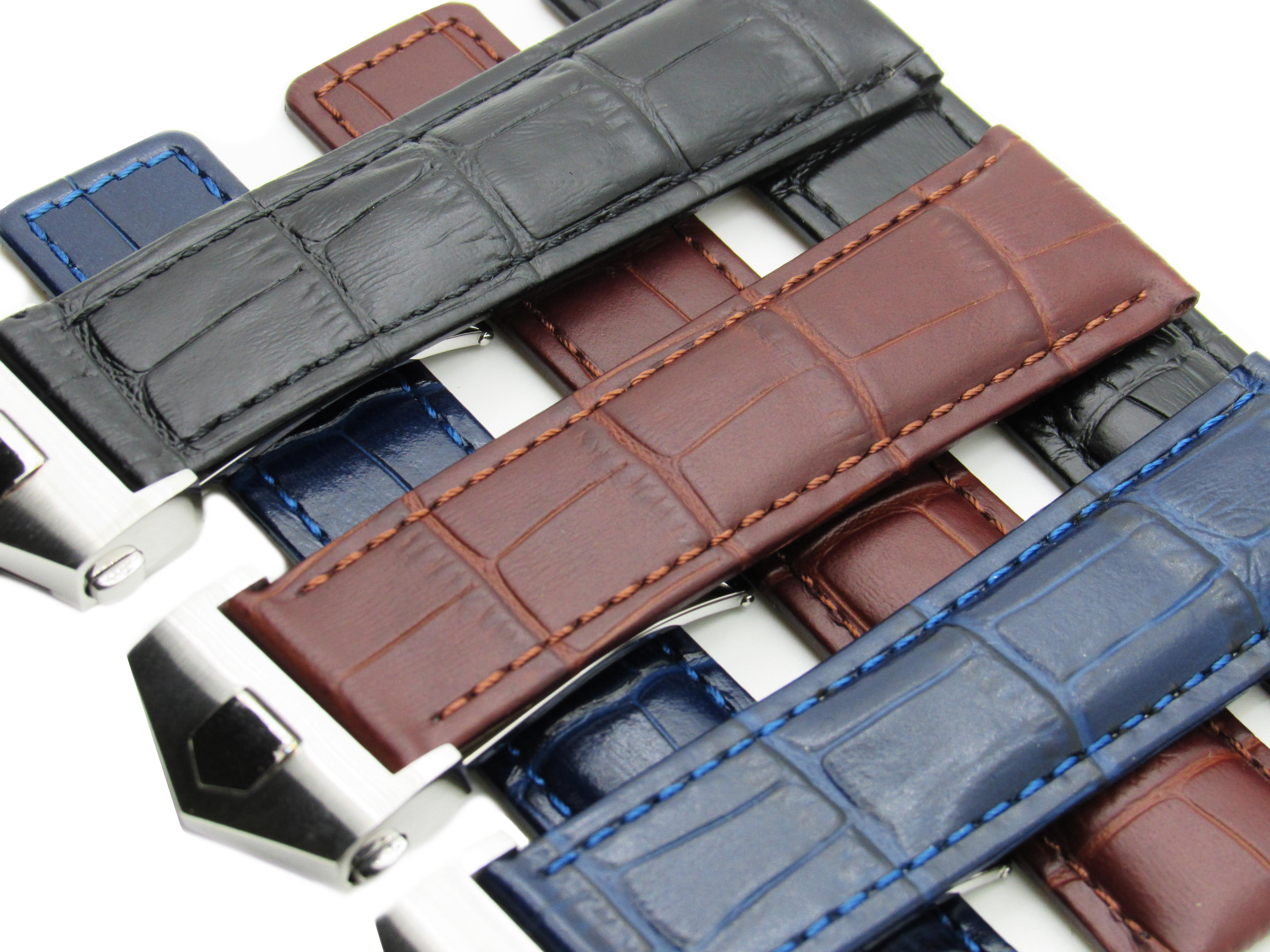 Original Dismay Alligator Embossed Tag Heuer Carrera, Calibre, Monaco Black, Brown, Blue leather watch strap. Deployment buckle clasp