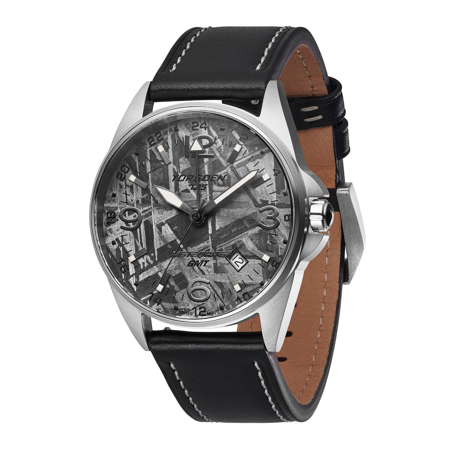 Offered in three style variations, all featuring genuine Italian leather straps and luminescent digits and markers for ease of read, the Torgoen T25 Meteorite weighs in at 2.9 oz with a case thickness of 12.5 mm for a slim, light feel.