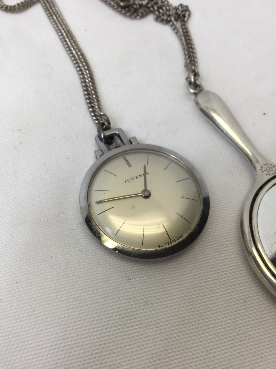 Name:  VINTAGE JUVENA WATCH NECKLACE AND 2.5 STERLING SILVER MIRROR NECKLACE2.jpg