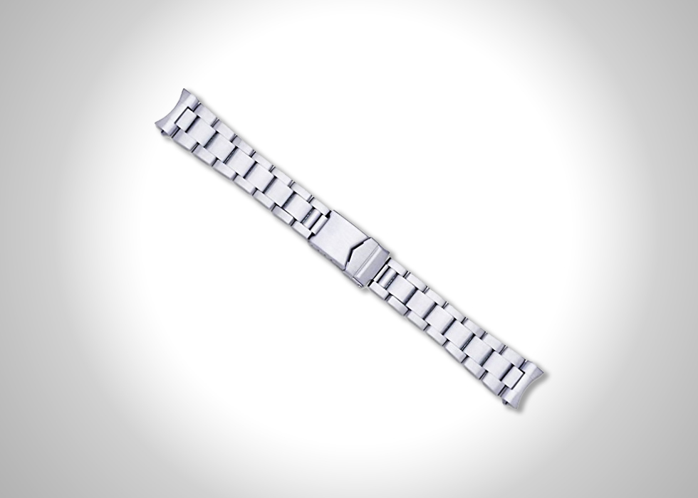 deBeer Oyster style 20-mm solid link metal watch band in silver