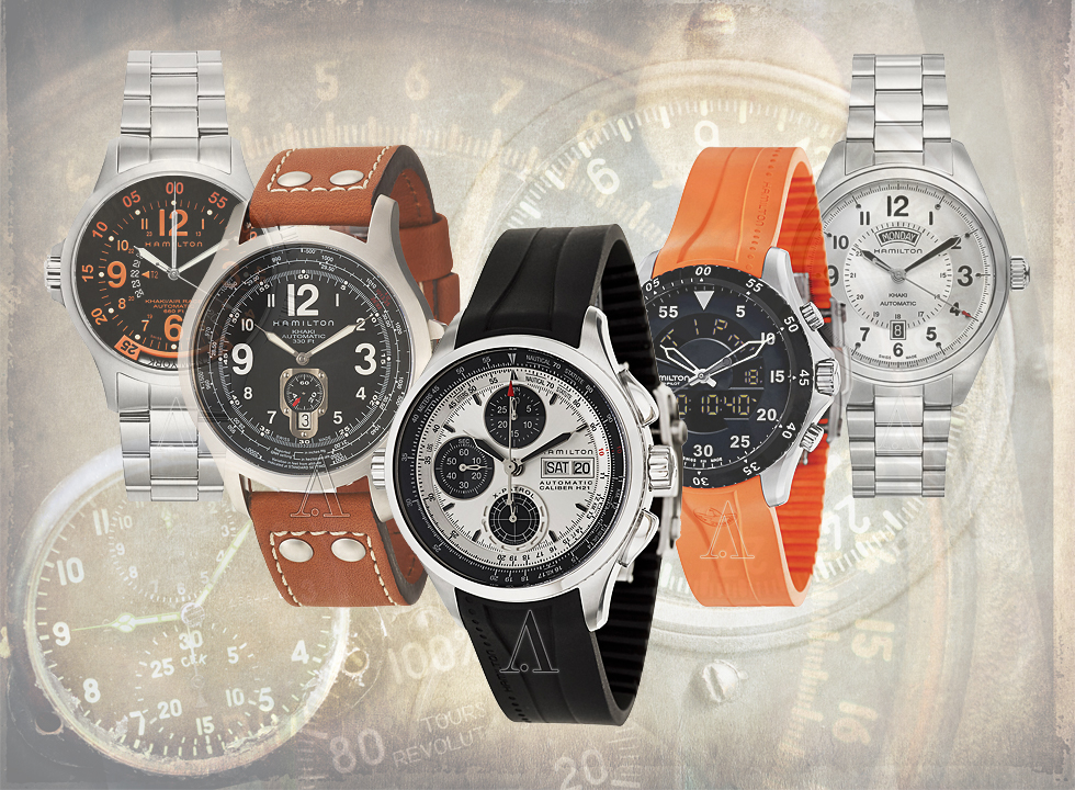 A selection of Hamilton Khaki Aviator and Field watches on sale at Ashford.com