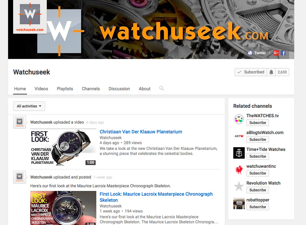 What's New on Watchuseek's Youtube Channel