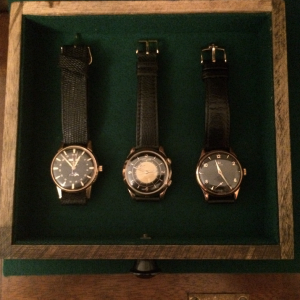 Watch Box 2 Drawer 1: vintage Zodiac Moonphase Le Coultre Wrist Alarm 9ct Omega dress watch