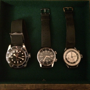 Watch Box 4 Drawer 3: mix Tudor Black Bay Black (ETA) Excalibur dive Epsa case Winu Chronograph